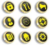 Insieme dorato dell'icona di Web del calcolatore Fotografie Stock