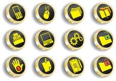 Insieme dorato dell'icona di Web del calcolatore Illustrazione Vettoriale