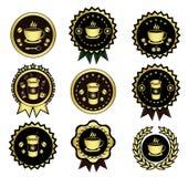 Insieme dorato di logo del caffè Fotografie Stock