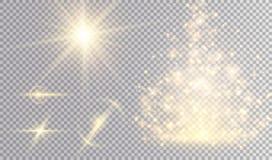 Insieme dorato di progettazione dell'estratto delle luci Fotografia Stock