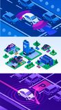 Insieme Driverless dell'insegna dell'automobile, stile isometrico royalty illustrazione gratis