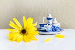 Insieme e fiore di tè minuscoli Immagine Stock