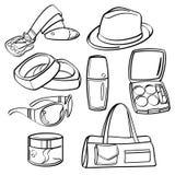 Insieme e raccolta di compera dei beni di consumo illustrazione vettoriale