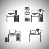 Insieme e tavola del computer Progettazione Fotografia Stock