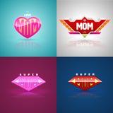 Insieme eccellente divertente di logo della mamma Fotografie Stock Libere da Diritti