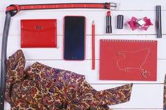 Insieme ed accessori dell'abbigliamento delle donne Fotografie Stock