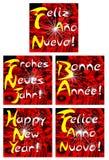 Insieme elegante della cartolina d'auguri di Natale nel rosso Fotografia Stock Libera da Diritti