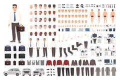 Insieme elegante della creazione dell'impiegato o dell'impiegato di concetto o corredo di DIY Raccolta delle parti del corpo, ves illustrazione vettoriale