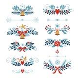 Insieme elementi del grafico del nuovo anno e di Natale Fotografie Stock Libere da Diritti