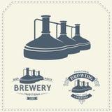 Insieme - elementi della fabbrica di birra della birra, icone, logos Vettore illustrazione di stock