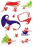 Insieme elementi di disegno degli Nuovo-Anni & di natale. Fotografia Stock Libera da Diritti