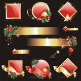 Insieme elementi di disegno degli Nuovo-Anni & di natale. Immagini Stock