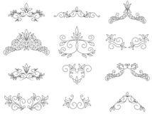 Insieme - elementi di disegno floreale Fotografia Stock