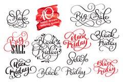 Insieme elementi di stile di progettazione calligrafica di Black Friday di retro L'annata orna l'illustrazione di vettore di vend Immagine Stock