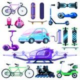 Insieme elettrico di trasporto di eco alternativo Illustrazione piana del veicolo di vettore Dispositivi moderni isolati su fondo illustrazione di stock