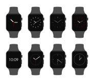 Insieme elettronico del fronte di orologio dei dispositivi di Smartwatch - illustrazione isolata di vettore Fotografie Stock