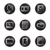 Insieme elettronico dell'icona dell'oggetto Fotografia Stock Libera da Diritti