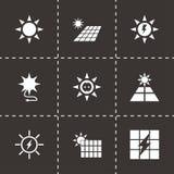 Insieme a energia solare dell'icona di vettore Immagine Stock Libera da Diritti