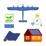 Insieme a energia solare di vettore Immagine Stock Libera da Diritti