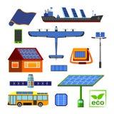 Insieme a energia solare di vettore Fotografia Stock