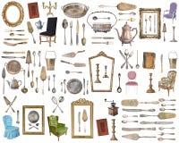 Insieme enorme degli oggetti antichi Elementi d'annata della famiglia, argenteria, mobilia e più Isolato su priorità bassa bianca immagini stock