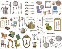 Insieme enorme degli oggetti antichi Elementi d'annata della famiglia, argenteria, mobilia e più Isolato su priorità bassa bianca illustrazione vettoriale