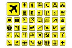 Insieme enorme delle icone o dei segni dell'aeroporto illustrazione vettoriale