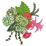 Insieme esotico del mazzo Fiori Raccolta floreale con il vario piano illustrazione vettoriale
