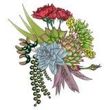 Insieme esotico del mazzo Fiori Raccolta floreale con le varie piante illustrazione di stock