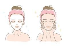 Insieme estetico di cura di pelle delle donne royalty illustrazione gratis