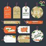 Insieme etichette del regalo del nuovo anno e di Natale Fotografie Stock