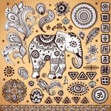 Insieme etnico d'annata tribale del modello illustrazione di stock