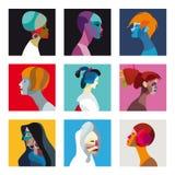 Insieme etnico dell'avatar di profilo delle donne Fotografia Stock