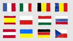 Insieme europeo del grunge dell'icona delle bandiere nazionali Fotografia Stock Libera da Diritti