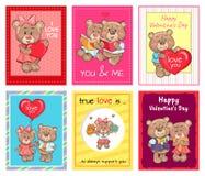 Insieme felice dei manifesti, vero insieme di giorno di biglietti di S. Valentino di amore Fotografia Stock