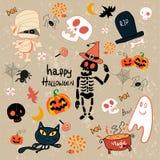Insieme felice del fumetto di clipart di Halloween illustrazione di stock