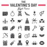 Insieme felice dell'icona di glifo di giorno di biglietti di S. Valentino illustrazione di stock