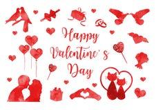 Insieme felice dell'icona di San Valentino delle siluette dell'acquerello Raccolta romanzesca sveglia di amore degli elementi di  royalty illustrazione gratis