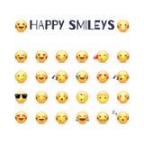 Insieme felice dell'icona di vettore di smiley Raccolta dei pittogrammi degli emoticon di gioia Smiley gialli rotondi felici Risa Fotografia Stock