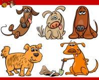 Insieme felice dell'illustrazione del fumetto dei cani Fotografia Stock