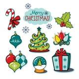 Insieme felice dell'illustrazione di festa di Buon Natale Fotografia Stock