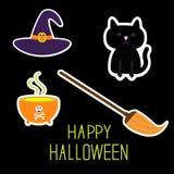 Insieme felice della strega di Halloween. Gatto nero, cappello Fotografia Stock Libera da Diritti