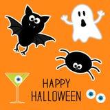 Insieme felice di Halloween. Fantasma, pipistrello, ragno, occhi, martini. Carta. Fotografie Stock