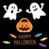 Insieme felice di Halloween. Fantasmi, zucca, caramelle. Carta. Immagine Stock Libera da Diritti