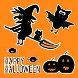 Insieme felice di Halloween. Zucche della strega, pipistrello, ragni, Immagine Stock Libera da Diritti
