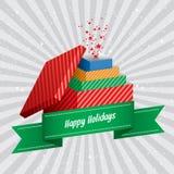 Insieme felice di sorpresa dei contenitori di regalo delle feste Immagini Stock Libere da Diritti
