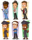 Insieme felice di vettore del carattere dello studente di college del fumetto royalty illustrazione gratis