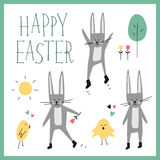Insieme felice di vettore di Pasqua Coniglietto, coniglio, pulcino, albero, fiore, sole, cuore, segnante frase con lettere Elemen Fotografie Stock