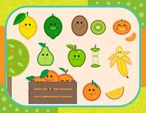 Insieme felice di vettore di frutti Immagine Stock Libera da Diritti