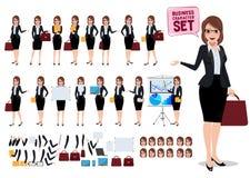 Insieme femminile di vettore dei caratteri di affari con la borsa e la conversazione della tenuta della segretaria royalty illustrazione gratis